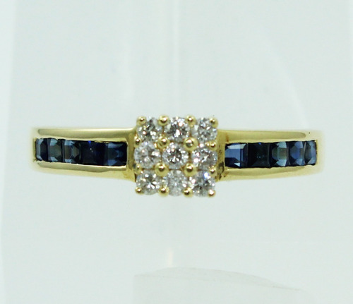 pocao2005- anel de ouro 18k750 diamantes safiras azuis 390