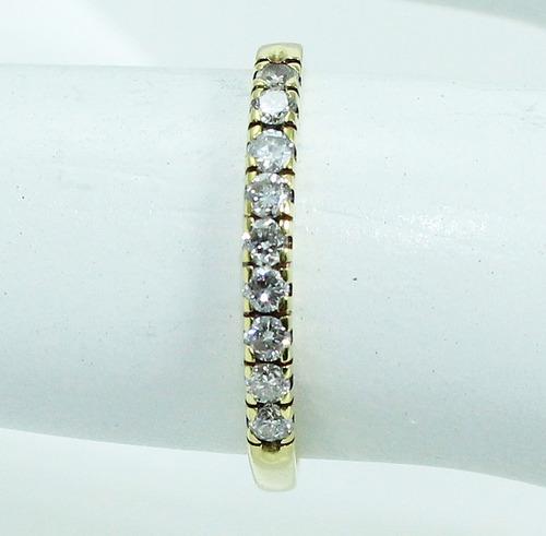 pocao2005- anel meia aliança de ouro 18k750 diamantes 839