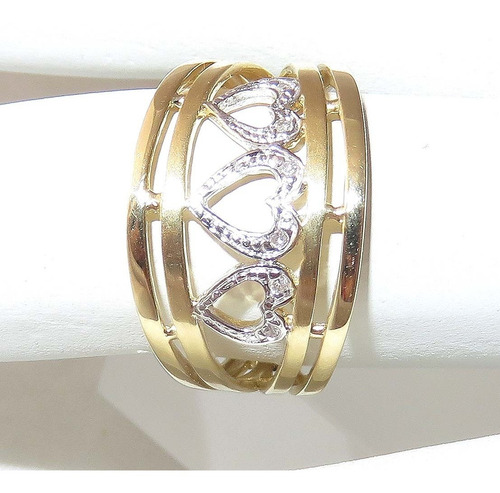 pocao2005- anel ouro 18k coração diamantes 12x s/j ft/gt 303
