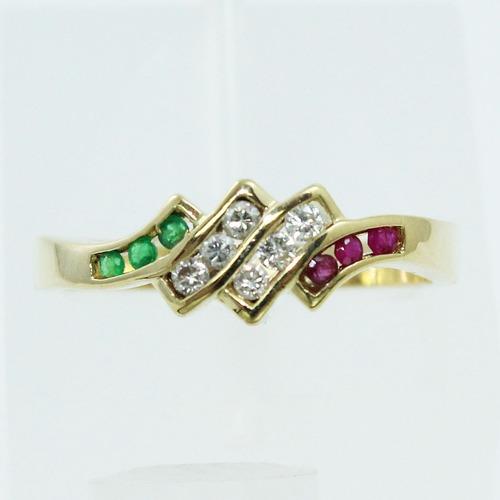 pocao2005- anel ouro 18k750 diamantes rubis esmeraldas 425