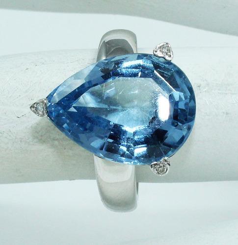 pocao2005- anel ouro branco 18k750 topázio diamantes 432