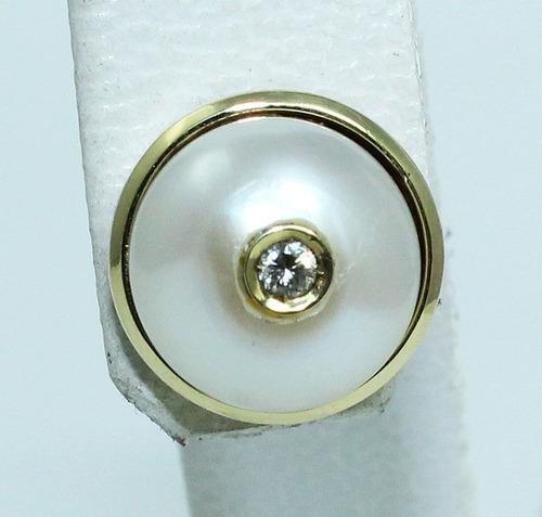 pocao2005 brinco ouro 18k diamante pérola 12x s/j ft/gt b223