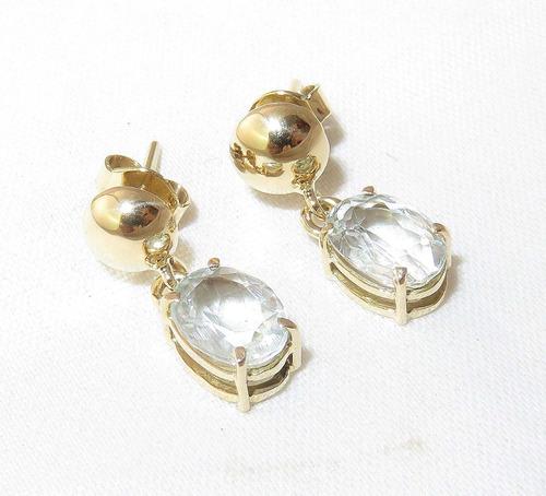 pocao2005- brincos de ouro 18k750 cristais 12x s/j ft/gt b42