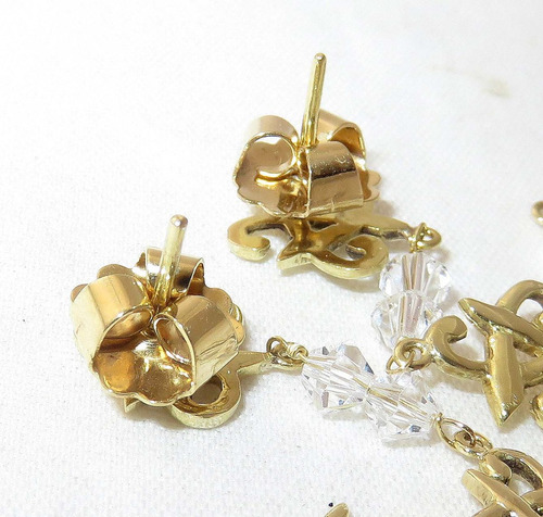 pocao2005- brincos de ouro 18k750 cristal b184