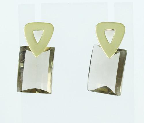pocao2005- brincos de ouro 18k750 quartzo fume b136