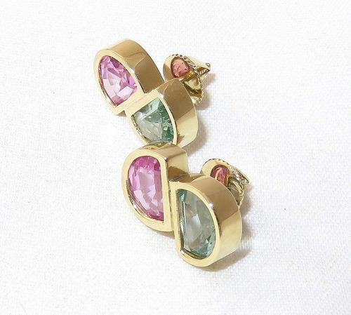pocao2005- brincos de ouro 18k750 turmalinas rosa verde b179