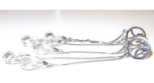 pocao2005- brincos de ouro branco 18k cristais b185