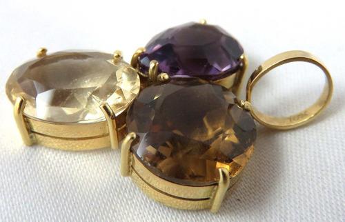 pocao2005- pingente de ouro 18k750 pedras diversas p164