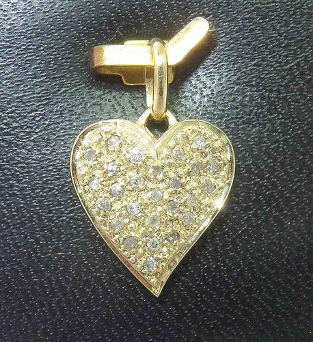 pocao2005- pingente ouro 18k750! coração diamantes p156