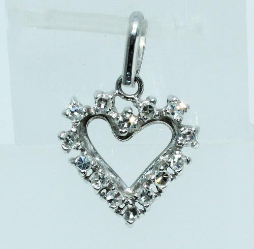 pocao2005- pingente ouro branco 18k coração diamantes p179