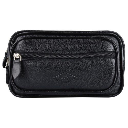 pochete de couro legitimo, 03 bolsos c/ zíper alça ajustável
