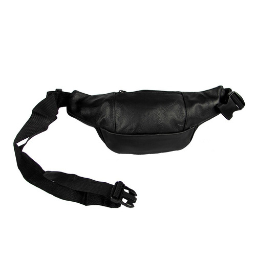 pochete masculina bolsa de cintura 7 bolsos preta couro moto