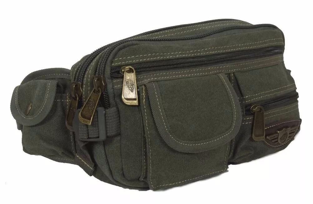 1ebf0d376ae7d pochete masculina de cintura porta objetos em lona 7 bolsos. Carregando  zoom.