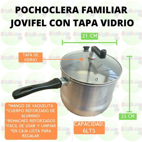 pochoclera familiar aluminio 21cm + cuchara + receta + caja
