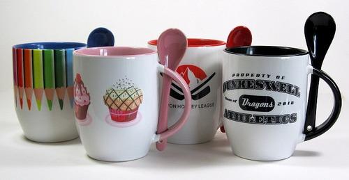 pocillo sublimable mug oreja color con cuchara 11 onzas