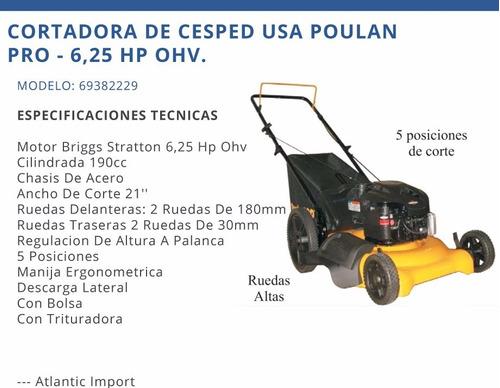 podadora de cesped poulan pro de 6.25hp 190cc a gasolina