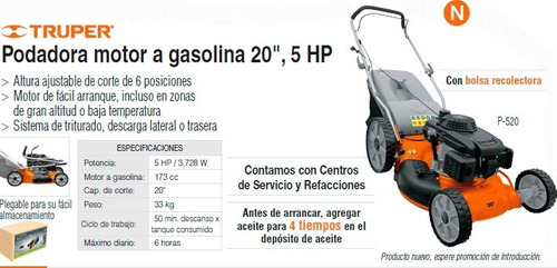 podadora de pasto a gasolina 5 hp truper a19967 envio gratis