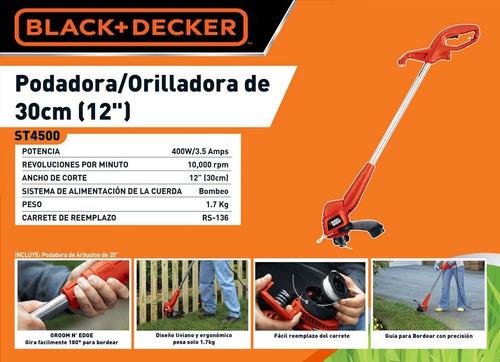 podadora orilladora  cesped black&decker electrica 400w 110v
