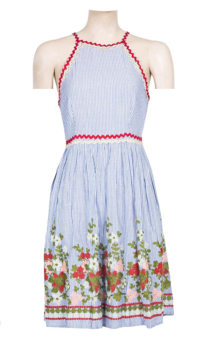 Vestido halter mini bordados