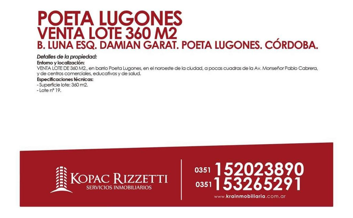 poeta lugones (buenaventura luna 4500) - venta lote 360m2