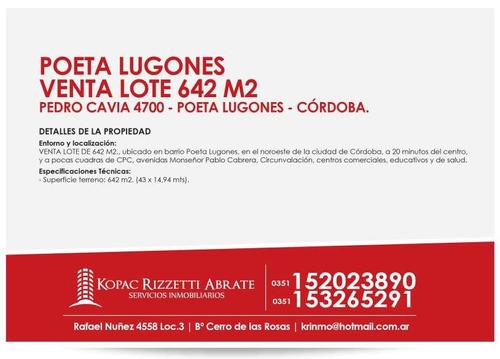 poeta lugones - venta lote 642 m2