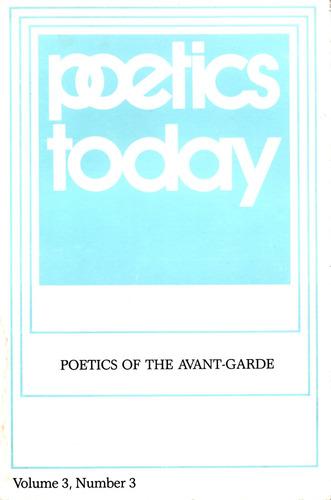 poetics today - poetics of the avant-garde
