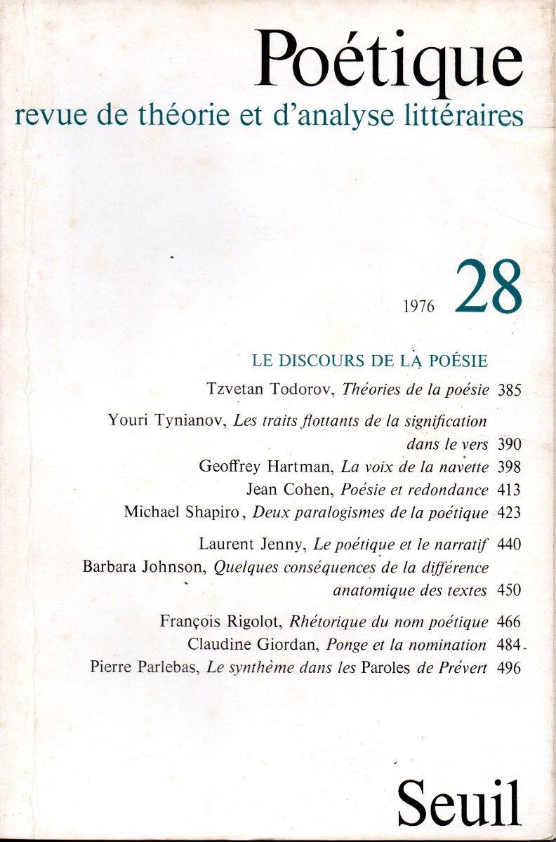 Poetique Nr 28 Revue De Théorie Et Danalyse Littéraires 50000