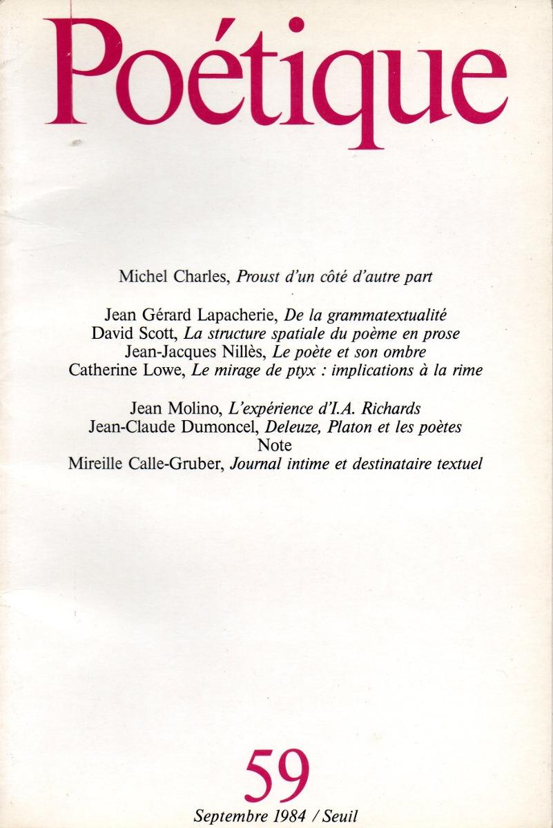 Poetique Nr 59 Revue De Théorie Et Danalyse Littéraires 50000