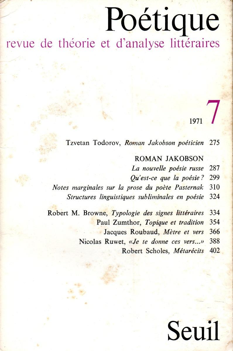 Poetique Nr 7 Revue De Théorie Et Danalyse Littéraires 50000