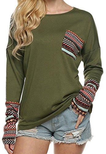 pogtmm - blusa de manga larga con cuello en forma de o para