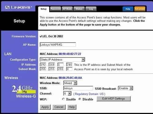linksys wireless-g access point wap54g software