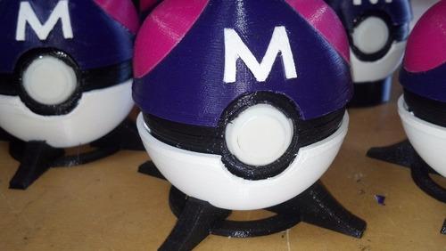 pokebolas master ball + combo de 4 pokemones - impresion 3d