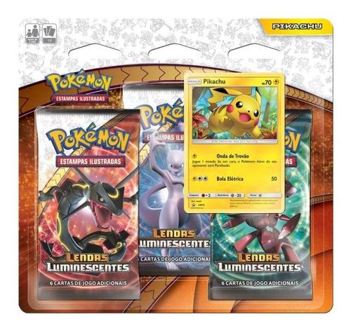 pokemon blister triple pack lendas luminescentes - pikachu