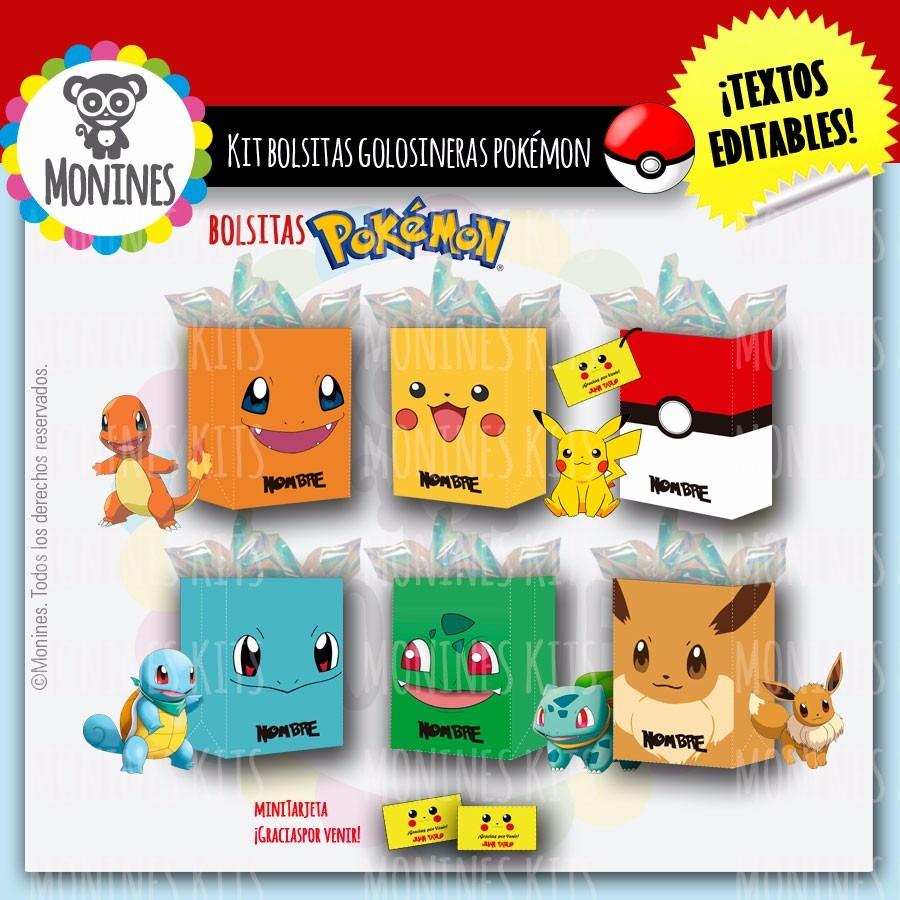5e8523e82 Pokemon Bolsitas Imprimibles Cumpleaños - $ 50,00 en Mercado Libre