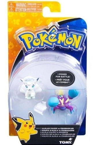 pokemon figuras de ação vulpix de alola vs crabrawler - tomy