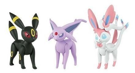pokémon figure pack 3 umbreon, sylveon e espeon  - tomy