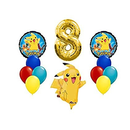 Pokemon Happy 8th Birthday Balloon Bouquet Envio Gratis