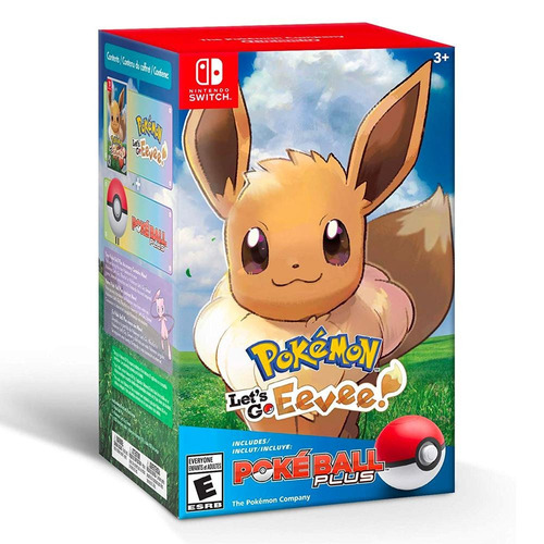 pokemon lets go eevee + pokeball plus nintendo switch nuevo