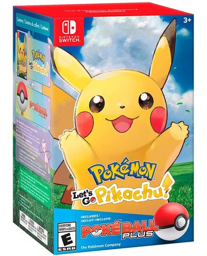 pokemon let's go pikachu + pokeball plus edition pokebola