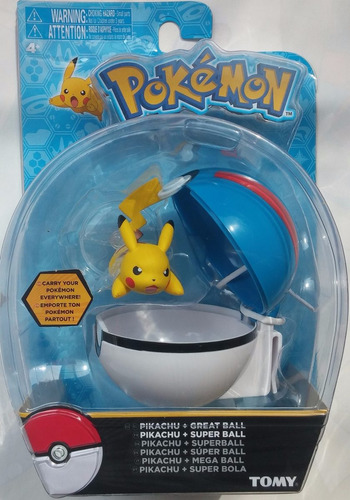 pokemon pokebola azul poké ball - pikachu great ball de tomy