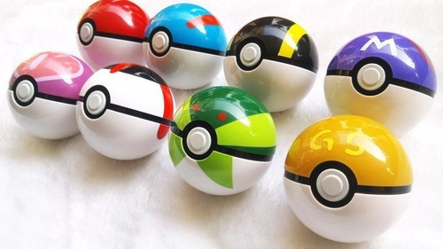 pokemon pokebola pokeball caixa com 8 pokebolas + 8 pokemon