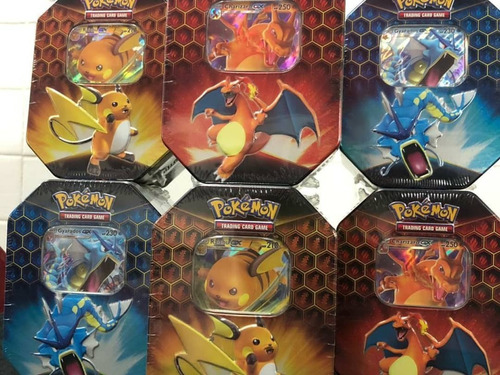 pokemon tin charizar, raichu, gyarados