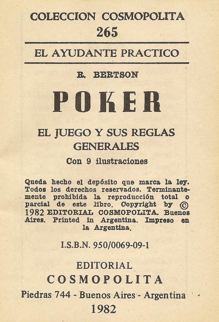 Poker El Juego Y Sus Reglas Generales R Bertson 199 00 En
