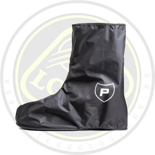 polaina protector proteção pé chuva motociclista moto preta com nota