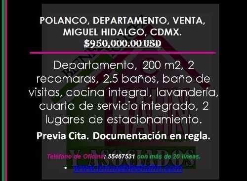 polanco, departamento, venta, miguel hidalgo, cdmx.