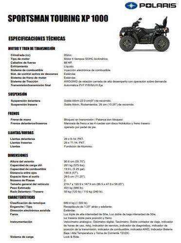 polaris sportsman touring 1000 sp eps 88 hp