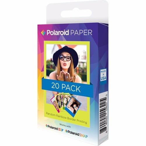 polaroid 2x3 inch rainbow border (20 hojas)