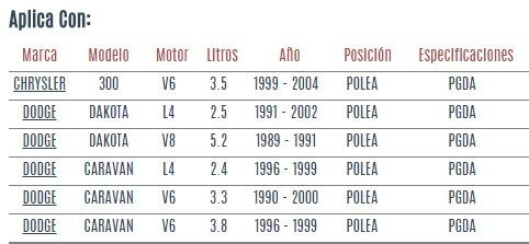 polea de tensor dodge dakota l4/ v8 2.5/5.2 1989 a 2002 vzl