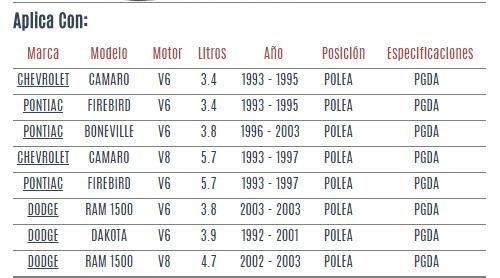 polea de tensor dodge dakota v6 3.9 3.8/4.7 1992 a 2001 vzl