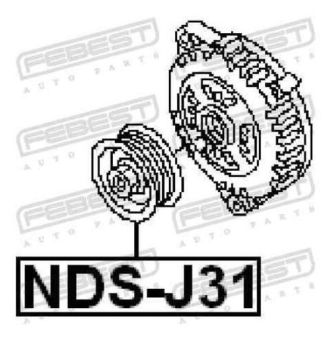 polea del alternador nissan xtrail tiida c11 febest nds-j31